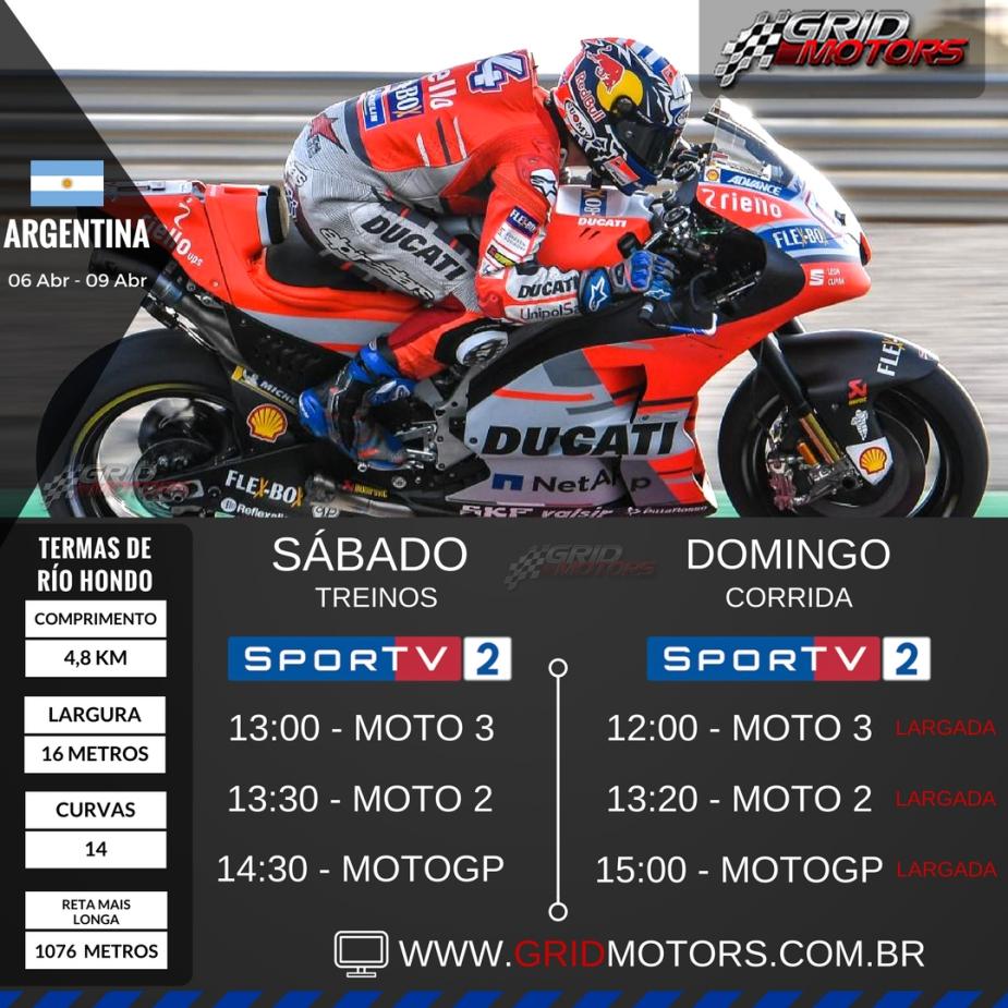 Horários MotoGP 2018 - Argentina